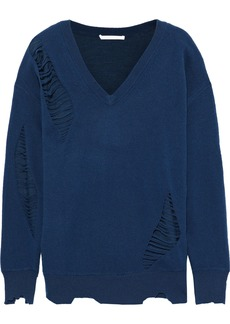 Helmut Lang Woman Distressed Wool Sweater Navy