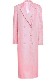 Helmut Lang Woman Double-breasted Sateen Coat Baby Pink