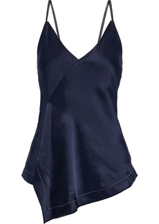 Helmut Lang Woman Draped Faux Leather-trimmed Satin Camisole Navy