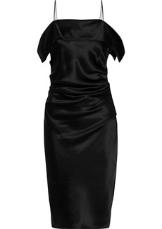 Helmut Lang Woman Draped Gathered Satin Dress Black