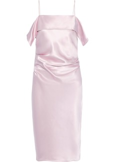 Helmut Lang Woman Draped Gathered Satin Dress Baby Pink