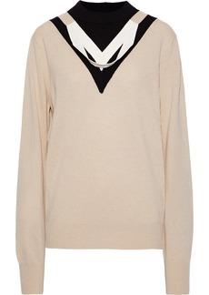 Helmut Lang Woman Draped Intarsia Wool-blend Sweater Beige