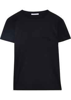 Helmut Lang Woman Embroidered Cotton-jersey T-shirt Black