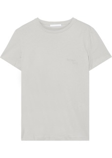 Helmut Lang Woman Embroidered Cotton-jersey T-shirt Light Gray
