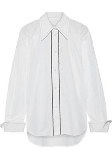 Helmut Lang Woman Embroidered Cotton-poplin Shirt White