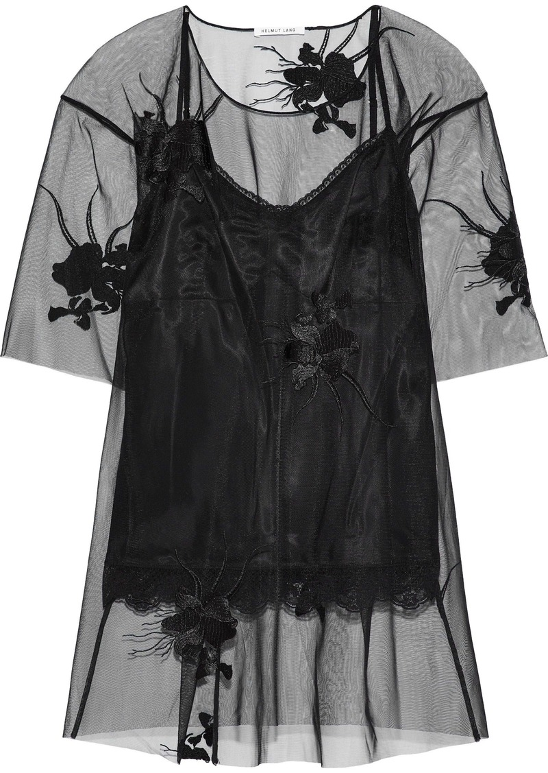 Helmut Lang Woman Embroidered Tulle Top Black