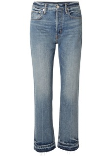 Helmut Lang Woman Faded High-rise Straight-leg Jeans Mid Denim