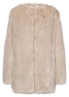 Helmut Lang Woman Faux Fur Coat Beige