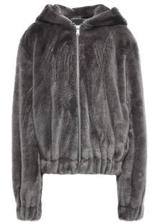Helmut Lang Woman Hooded Faux Fur Jacket Gray