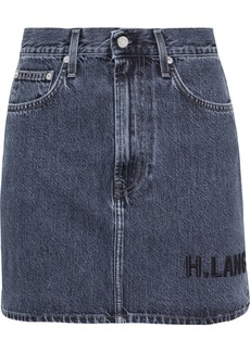 Helmut Lang Woman Femme Hi Embroidered Faded Denim Mini Skirt Mid Denim
