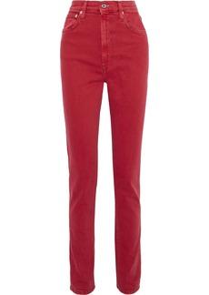 Helmut Lang Woman Femme Hi Spikes High-rise Slim-leg Jeans Crimson