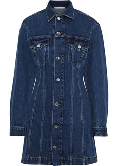 Helmut Lang Woman Femme Trucker Denim Mini Shirt Dress Dark Denim