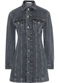 Helmut Lang Woman Femme Trucker Faded Denim Mini Dress Dark Denim