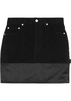 Helmut Lang Woman Femme Utility Silk Satin-paneled Brushed-cotton Mini Skirt Black