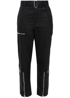 Helmut Lang Woman Flight Zip-detailed Cotton-blend Twill Tapered Pants Black