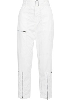 Helmut Lang Woman Flight Zip-detailed Cotton-blend Twill Tapered Pants White
