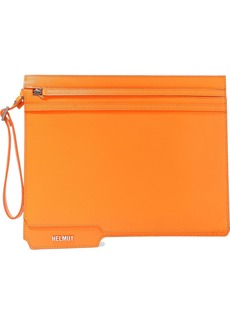 Helmut Lang Woman Folder Leather Clutch Orange