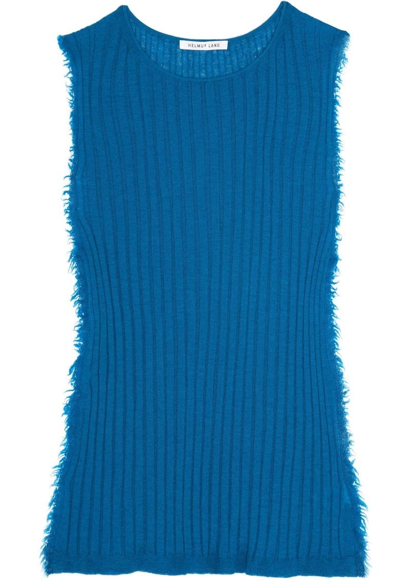 Helmut Lang Woman Frayed Ribbed Cashmere Tank Cobalt Blue