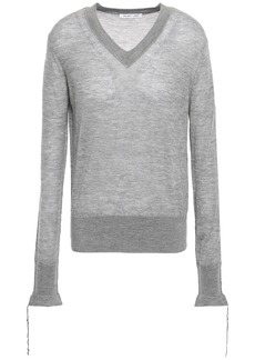 Helmut Lang Woman Frayed-trimmed Cashmere Sweater Gray