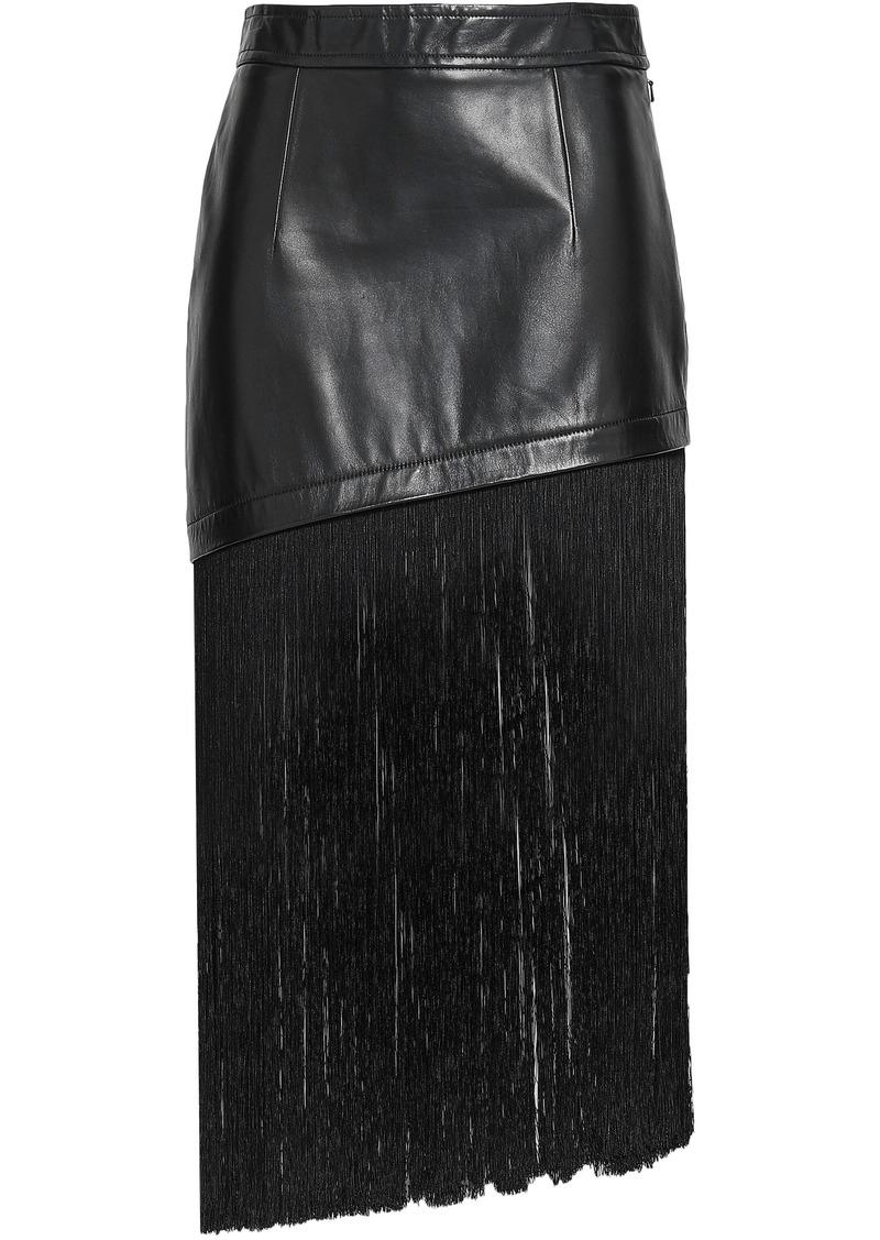 Helmut Lang Woman Fringe-trimmed Leather Midi Skirt Black