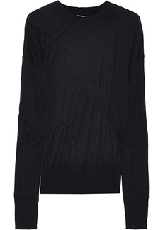 Helmut Lang Woman Ruched Slub Cashmere Top Black