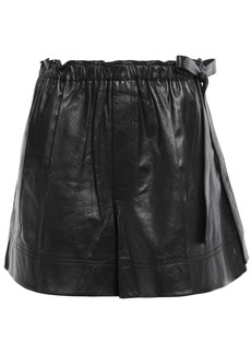 Helmut Lang Woman Gathered Leather Shorts Black