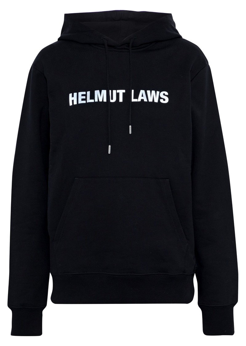 Helmut Lang Woman Helmut Laws Printed French Cotton-terry Hoodie Black