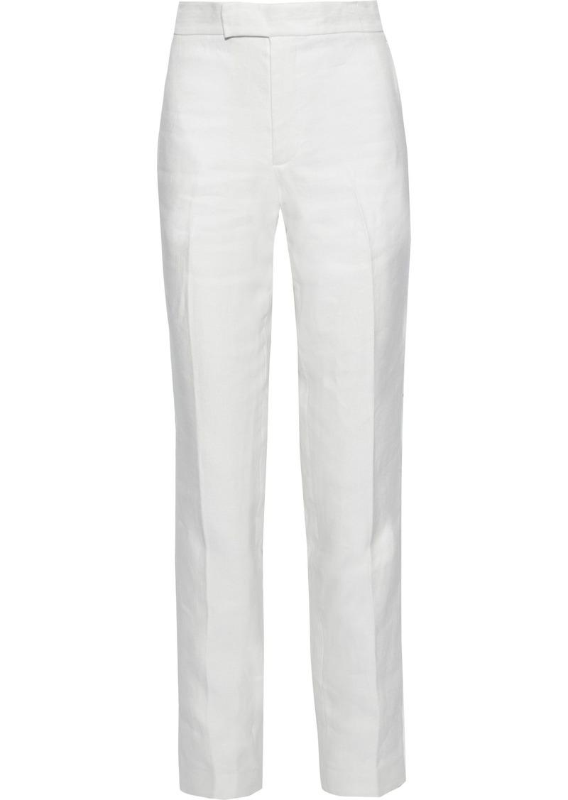 Helmut Lang Woman Hemp And Cotton-blend Straight-leg Pants White