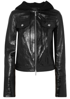 Helmut Lang Woman Hooded Glossed Textured-leather And Ribbed Wool-blend Jacket Black