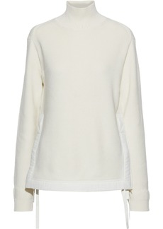 Helmut Lang Woman Knotted Shell-trimmed Ribbed Cotton Turtleneck Sweater Ivory