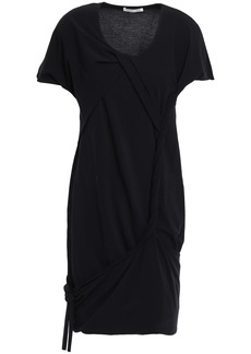 Helmut Lang Woman Knotted Cotton-blend Jersey Mini Dress Black