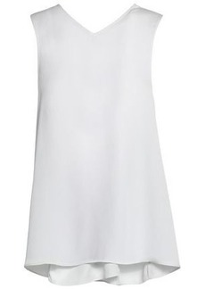 Helmut Lang Woman Knotted Textured Crepe De Chine Tank White