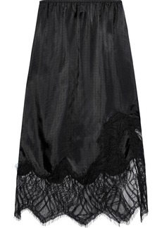 Helmut Lang Woman Lace-paneled Satin-twill Skirt Black