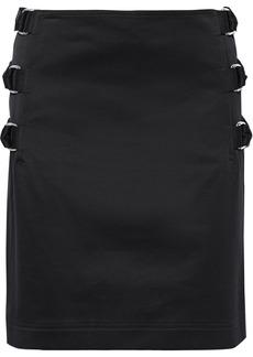 Helmut Lang Woman Layered Buckled Cotton-twill Mini Skirt Black
