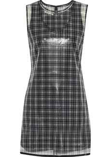 Helmut Lang Woman Layered Checked Gazar Mini Dress Gray