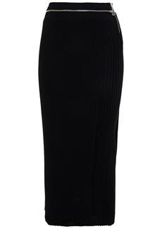 Helmut Lang Woman Layered Zip-detailed Ribbed Merino Wool-blend Midi Skirt Black