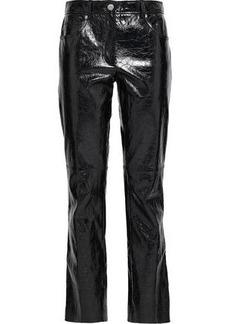 Helmut Lang Woman Leather Slim-leg Pants Black