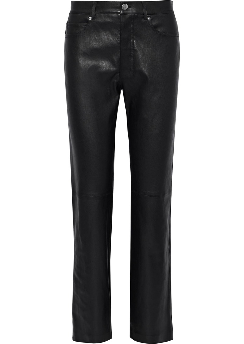 Helmut Lang Woman Leather Straight-leg Pants Black
