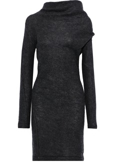 Helmut Lang Woman Leather-trimmed Brushed Wool-blend Mini Dress Charcoal