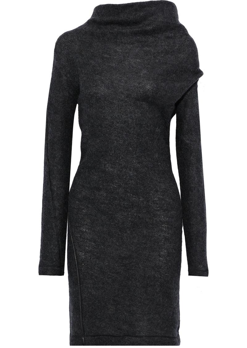 Helmut Lang Woman Leather-trimmed Brushed Wool-blend Mini Dress Charcoal