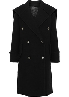 Helmut Lang Woman Leather-trimmed Brushed Wool Coat Black