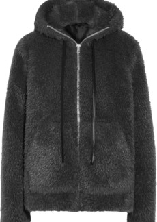 Helmut Lang Woman Leather-trimmed Faux Shearling Hooded Jacket Charcoal