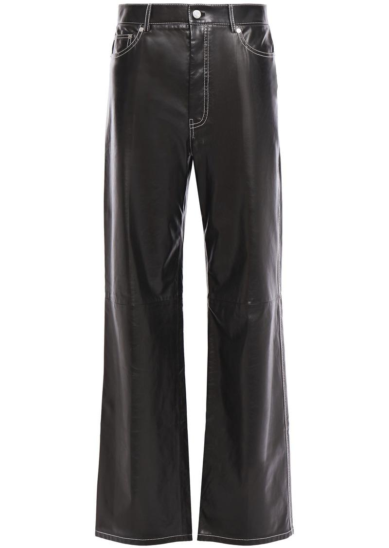 Helmut Lang Woman Leather Wide-leg Pants Black