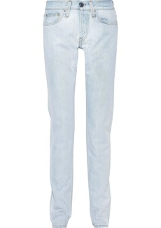Helmut Lang Woman Masc Lo Drainpipe Faded Low-rise Slim-leg Jeans Light Denim