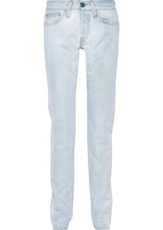 Helmut Lang Woman Masc Lo Drainpipe Faded Low-rise Slim-leg Jeans Light Denim