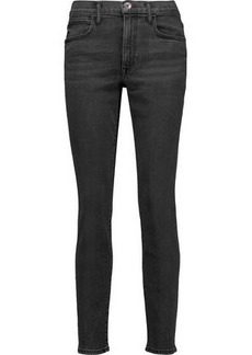 Helmut Lang Woman Mid-rise Skinny Jeans Dark Gray