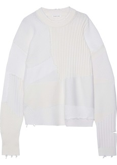 Helmut Lang Woman Military Grunge Oversized Patchwork Wool Cotton And Cashmere Sweater Ivory