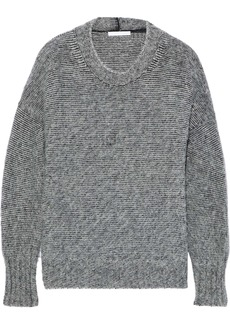 Helmut Lang Woman Mélange Brushed Knitted Sweater Gray
