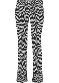 Helmut Lang Woman Motley Cotton And Silk-blend Zebra-jacquard Straight-leg Jeans Black