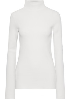 Helmut Lang Woman Neon Ribbed-knit Turtleneck Sweater Off-white